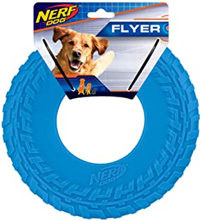 Nerf Dog Rubber Tire Flyer Dog Toy, Frisbee, Lightweight, Durable, Floats in Water, Great for Beach and Pool, 10 Inch Diam...