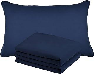 comprar comparacion Duractron - 2 Fundas de microfibra hipoalergénica para almohada, tamaño Queen (50 x75 cm), azul marinero, 2 unidades