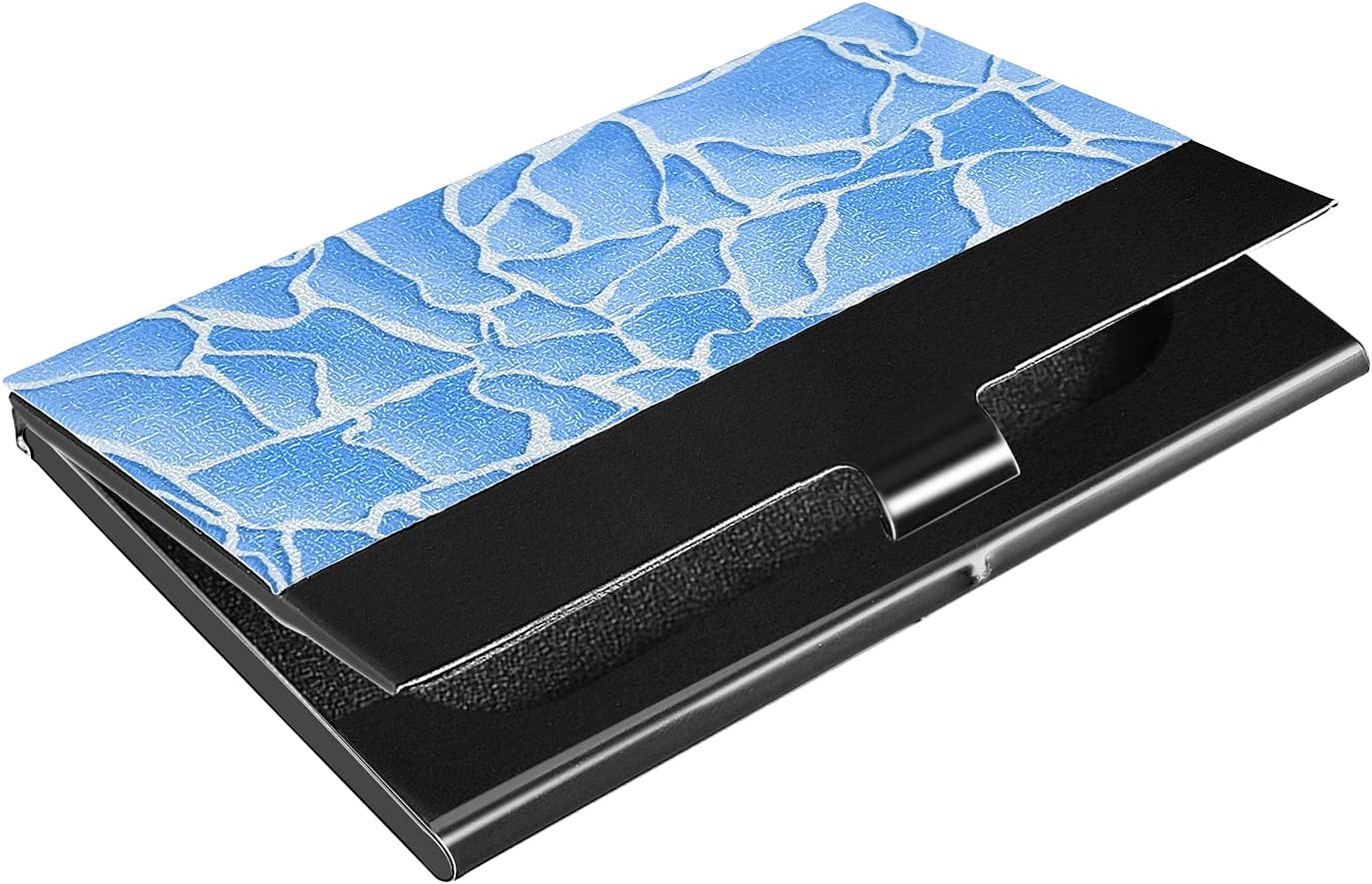 OTVEE Water Lines Business Card Holder Wallet Stainless Steel & Leather Pocket Business Card Case Organizer Slim Name Card ID Card Holders Credit Card Wallet Carrier Purse for Women Men