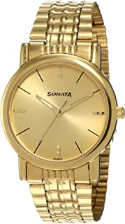 Sonata Analog Gold Dial Men's Watch -NK7987YM06W