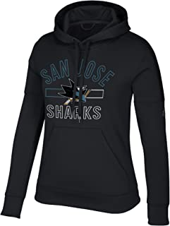 adidas San Jose Sharks NHL Women's Open Box Stack Black Climawarm Pullover Training Hoodie