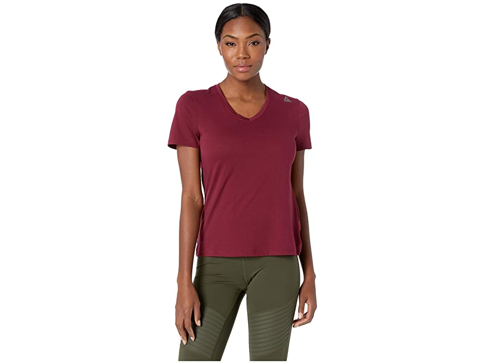 Reebok Supremium V-Neck Tee (Rustic Wine) Women