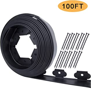 Mr Garden Landscape Edging Kit No-Dig 100ft Length with 20 Spikes, PE Plastic Landscape Edging roll Heavy Duty Edging Fence for Flower Beds, Tree Rings and Garden Borders, Black