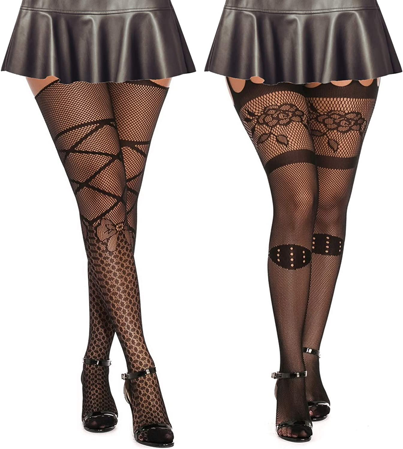 MengPa Fishnet Stockings Thigh High Patterned Suspender Tights Pantyhose for Women