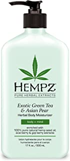 Exotic, Natural Herbal Body Moisturizer with Pure Hemp Seed Oil, Green Tea and Asian Pear, 17 Fluid Ounce - Pure, Nourishing Vegan Skin Lotion for Dryness and Flaking with Acai and Goji Berry