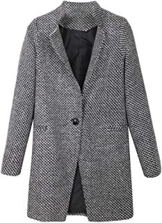 Women's Wool Trench Jacket One Button Wool Blend Pea Coat