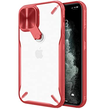 """Nillkin Case for Apple iPhone 12 / Apple iPhone 12 Pro (6.1"""" Inch) Cyclops Metal Stand Camera Protect Case Soft TPU Edge + Translucent PC Hard Back Red Color"""