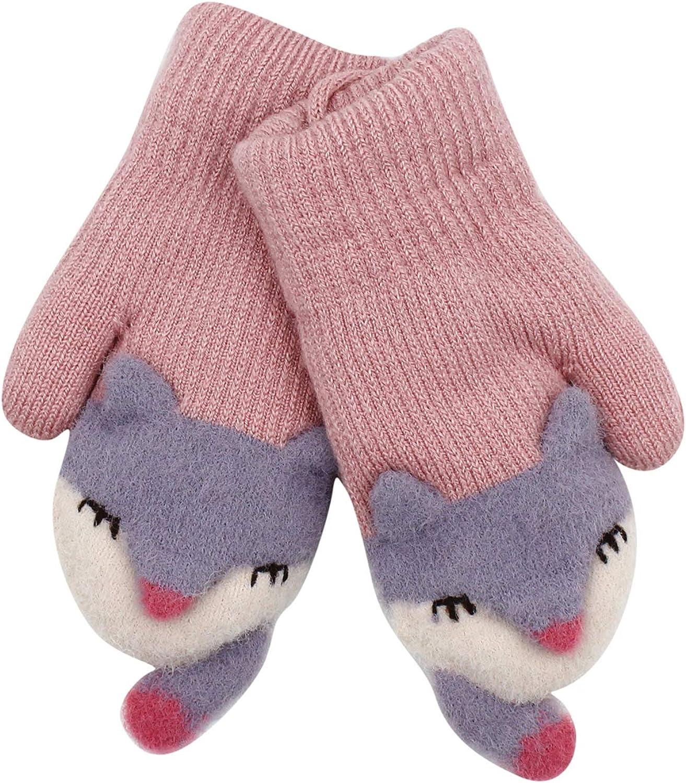 Kids Winter Warm Gloves Cute Cartoon Animals Mittens Soft Plush Ski Gloves Hand Warmers with String for Girls Boys