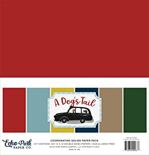 Echo Park Paper Company ADT155015 A Dog's Tail Solids Kit Paper, 12-x-12, Yellow, red, Navy, Sky Blue, Brown, Green