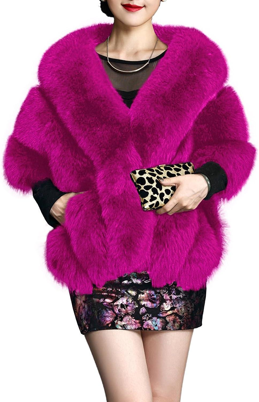 Amore Bridal Winter Luxury Party Faux Fox Fur Long Shawl Cloak Cape for Women