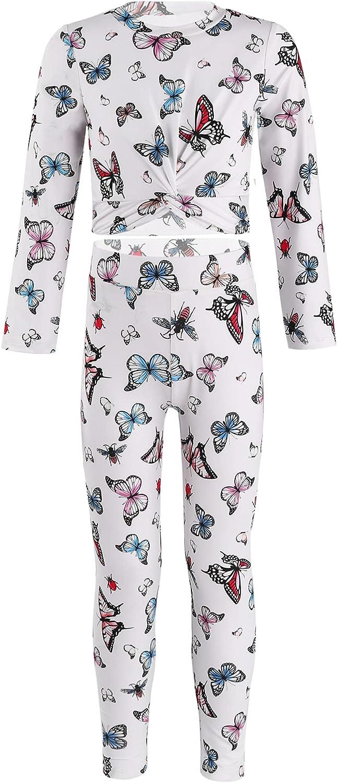 Yartina Big Girls 2 Pcs Sport Sets Activewear Butterflies Printed Long Sleeve Shirt Long Slim Pants