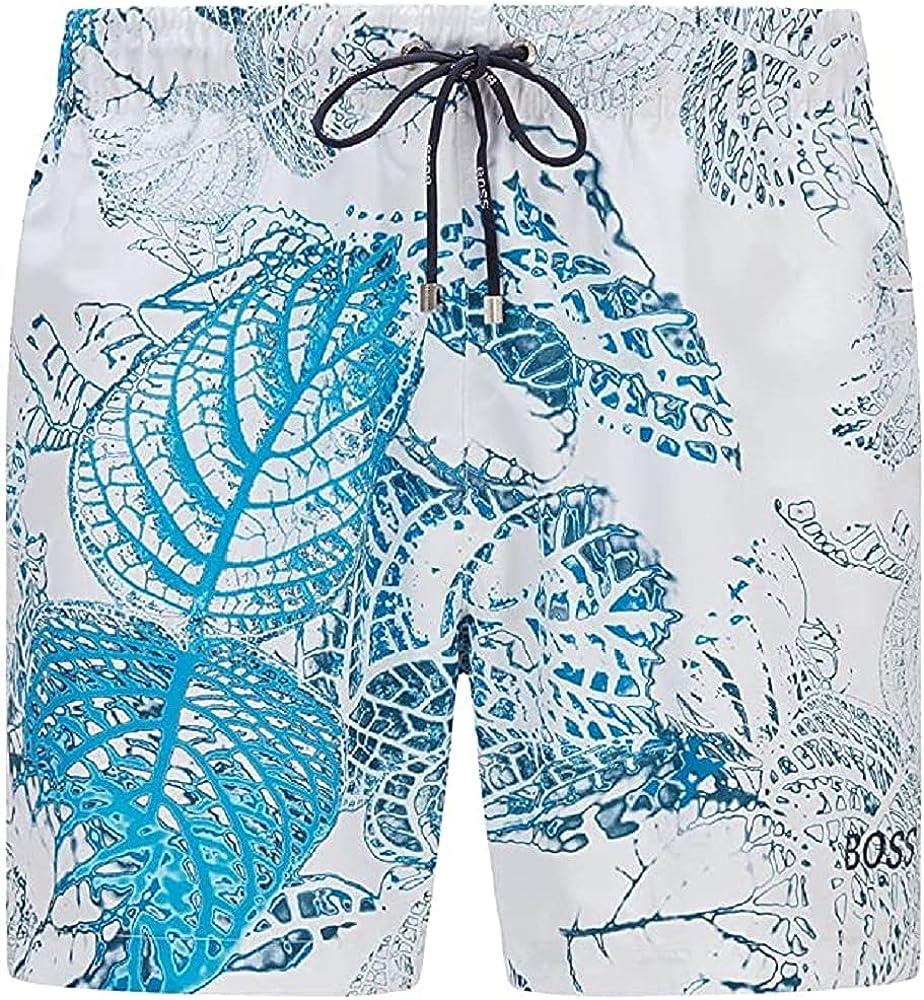 Hugo Boss Men's Springfish White Blue Leaf Print Classic Swim Shorts Trunks XXL