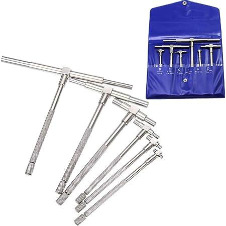 KTAIS Micrometers 6Pcs 8-150mm Precision Telescopic Gage Micrometer Bore Measurement Ruler Tool Micrometer Measurement Bore Engineers Tool Sets Color : Silver