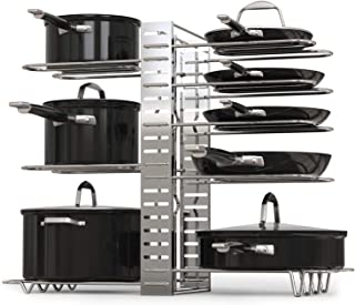 GeekDigg Pot Rack Organizer, Adjustable Height and Position, Kitchen Counter and Cabinet Pan Organizer Shelf Rack/Pot Lid Holder with 3 DIY Methods - Silver