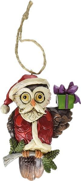 Jim Shore Heartwood Creek Christmas Owl Stone Resin Hanging Ornament 3 8