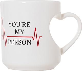 You're My Person Heart Shape Mug - 380ml Heart Handle Coffee Tea Mug