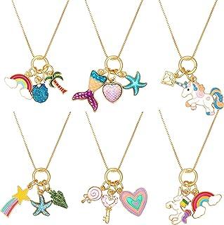 Hicarer 6 Pieces Unicorn Necklaces Mermaid Necklace Cute Rainbow Necklaces Love Heart Necklaces for Princess Party Favors