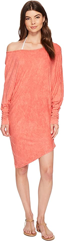 Milky Wash Tees Playa Boat Neck Asymmetrical Tunic