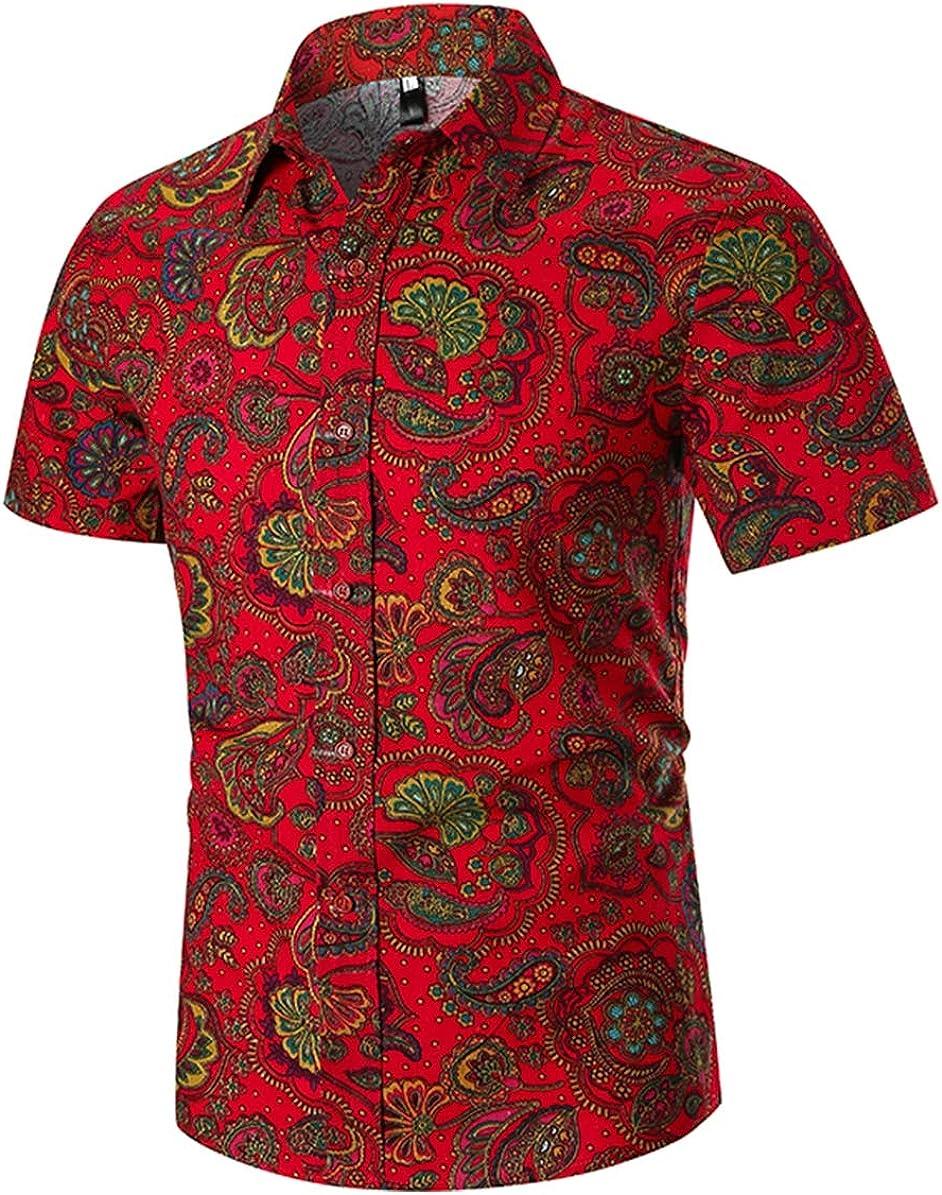 Men's Shirt Classic Casual Fashion Ethnic Print Short Sleeve Simple Joker Shirt Shirt