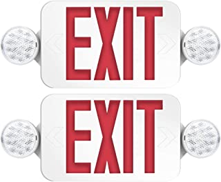 Freelicht 2 Pack Exit Sign with Emergency Lights, Two LED Adjustable Head Emergency Exit Light, Exit Sign for Business & Home, Exit Lights with Battery Backup, Engineering Grade, UL Certificated