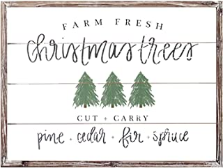 Sweet Water Decor Farm Fresh Christmas Trees Shiplap Wood Sign 18x24 Rustic Holiday Decor Farmhouse Barn Cottage Living Room Tree Wall Art Signs Vintage Wooden Saying Country Plaque Decoration Farms