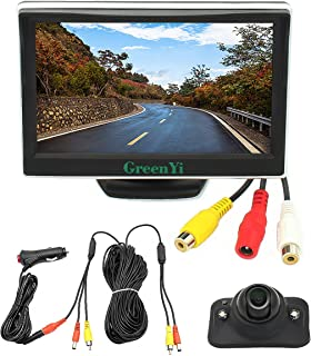 Integrated Car Wired Side View Camera Monitor System, LED Blind Spot HD Camera Kit + 5 HD TFT LCD Color Display, Powered by Cigarette Lighter,