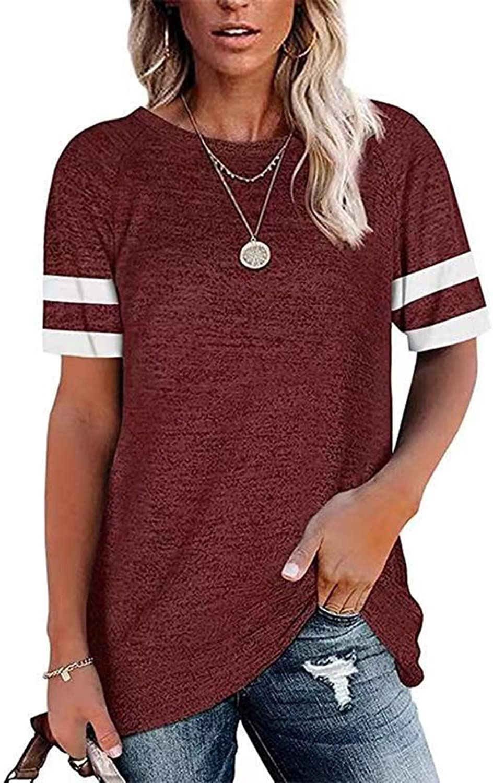 BSJSIA Women's Round Neck Short Sleeve Casual Shirt Color Block Tunics Blouse Tops