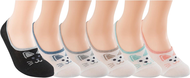 New Womens Novelty Cute Funny Ankle Socks - Cartoon Animal Cute Cat No Show Low Cut Socks(6pairs)
