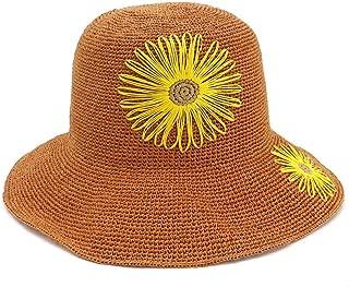 Xiang Ye 100% Women Handmade Raffia Straw Sun Hat Wide-brimmed Hat Crochet Flower Beach Bucket Hat