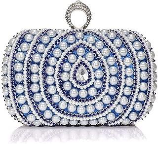 Redland Art Women's Fashion Mini Pearl Beaded Clutch Bag Wristlet Evening Handbag Catching Purse for Wedding Party (Color : Blue)