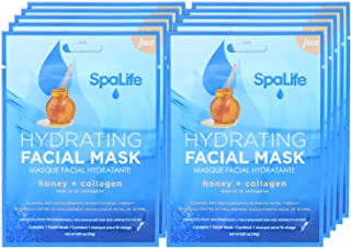 SpaLife Hydrating, Purifying, Anti-Aging, Detoxifying and Soothing Korean Facial Masks - 10 Masks - (Honey + Collagen)