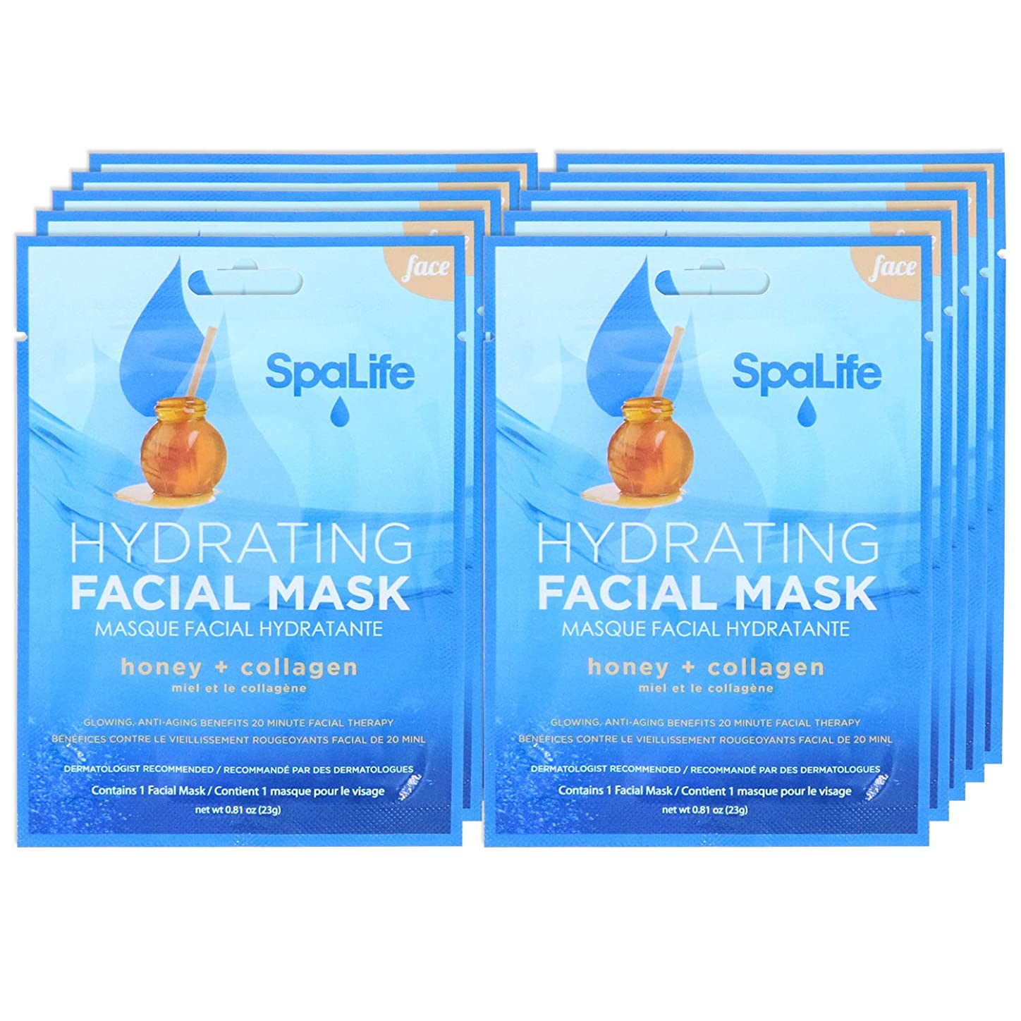 SpaLife Hydrating, Purifying, Anti-Aging, Detoxifying and Soothing Korean Facial Masks - 10 Masks - (Honey + Collagen) vvcqyuq049319