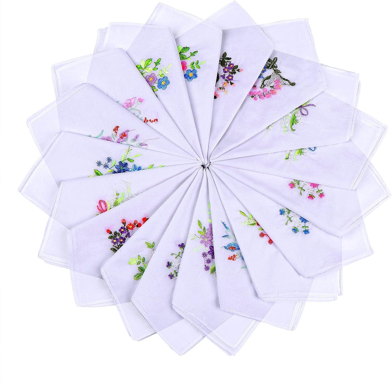 18pcs Women Floral Handkerchiefs Vintage Floral Embroidered Cotton Ladies Handkerchiefs, 28cmx28cm