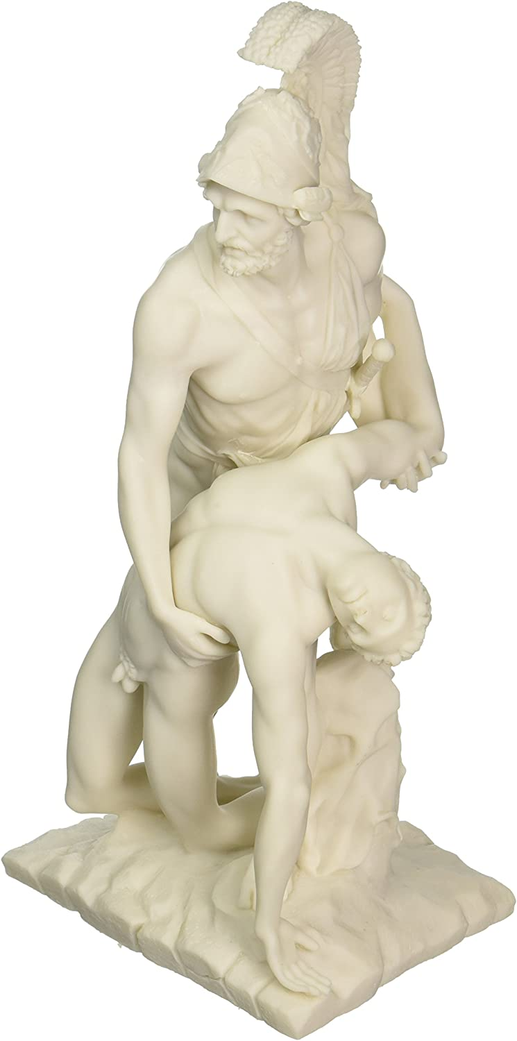 Design Toscano Menelaus Holding Up the Body of Patroclus Bonded Marble Statue