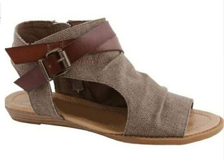 Jhdnhse Gladiator Peep Toe Buckle Zipper Design Roman Sandals Women Flat shoes Summer Beach shoes Sandals,Brown,11