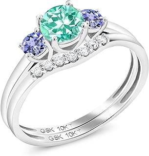 Gem Stone King 0.81 Ct Round Blue Apatite Blue Tanzanite 10K White Gold Lab Grown Diamond 3-Stone Bridal Engagement Wedding Ring Set