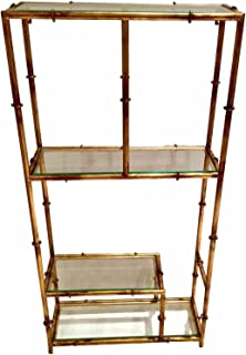 Display & Curio CABINETS - Forbidden City Stylized Bamboo Wall-Mounted Curio - Antique Gold Finish