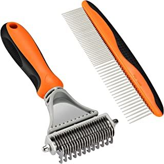 OMORC Pet Undercoat Rake, 2 Sided Dematting Comb Professional Stainless Steel Grooming Rake Dematting Tool for Dogs, Cats, Horses and Rabbits with Short or Long Hair