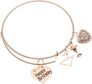 21st Birthday Gifts for Her, Rose Gold 21st Birthday Expandable Charm Bracelet, Adjustable Bangle, Perfect 21st Birthday Gift Ideas