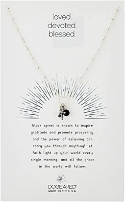 Dogeared - Loved. Devoted. Blessed. Cross and Black Spinel Bezel Necklace