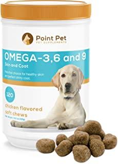 POINTPET Omega 3 6 9 for Dogs, Skin and Coat Fish Oil Supplement, Natural Fatty Acids with EPA & DHA, Helps with Dry and Itchy Skin - Supports Immune, Heart and Brain Health, 120 Soft Chews
