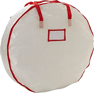Household Essentials 2630 Heavy Duty Christmas Wreath Storage Bag with Red Trim | Holds Large Xmas Wreaths up to 30 inches