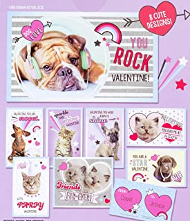 Valentines Day Classroom Exchange Gift | Rachael Hale Cats & Dogs Pets Photos 32 Valentines Cards | 8 Cute Design | Kids D...