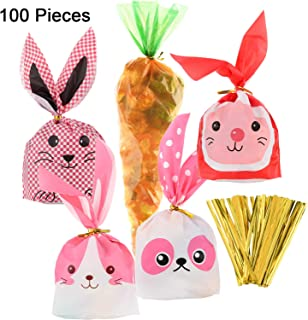 Jetec 100 Pieces Easter Cellophane Carrot-Shaped Bags and Bunny Goody Bag Candy Gift Wrap Bags with 100 Pieces Twist Ties for Party Favors Suppl (Color Set C)