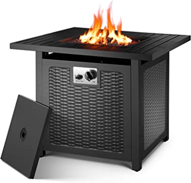 "OKVAC 28"" Propane Gas Fire Pit Table, 50,000 BTU Square Fire Bowl, Outdoor Auto-Ignition Fireplace with CSA Certification, 60"