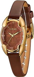SURVAN Japanese-Quartz Watch for Women Fashion Rhombus Polyhedral Wrist Watch Satin Strap