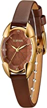 SURVAN Japanese-Quartz Watch for Women Fashion Rhombus Polyhedral Wrist Watch Satin Strap with Gift Box