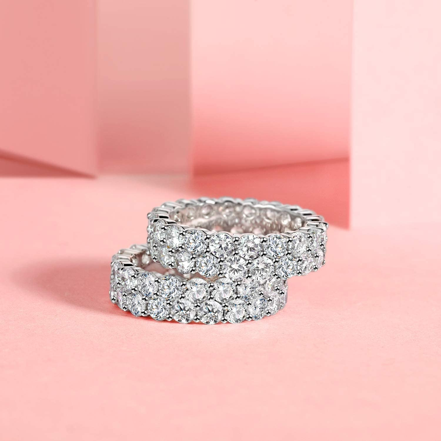 18K White Gold Plated Round-Cut Cubic Zirconia All-Around Band Ring Cocktail Jewelry for Women and Men