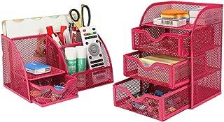 PAG Office Supplies Mesh Desk Organizer Set Accessories Storage Caddy Pen Holder for Desk, Rose