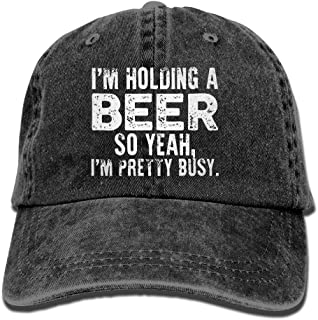 I'm Holding A Beer So Yeah I'm Pretty Busy Retro Washed Dyed Adjustable Plain Cowboy Cap ¡­ Black